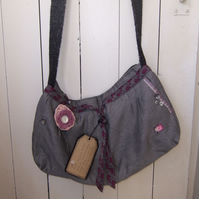 SALE Upcycled Grey Shoulder Bag