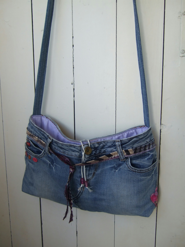 SALE Festival Boho Bag, Upcycled Jeans Cross Body Bag