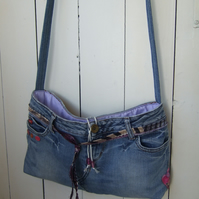SALE Festival Boho Bag - Upcycled Jeans Cross Body Bag