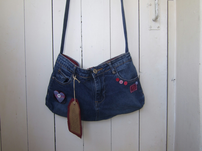 SALE Upcycled Denim Shoulder Bag