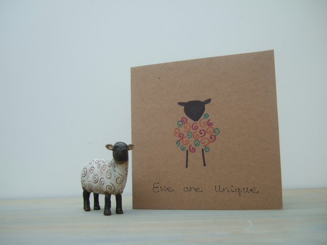 Ewe Are Unique - Colourful Sheep Cards - Personalised