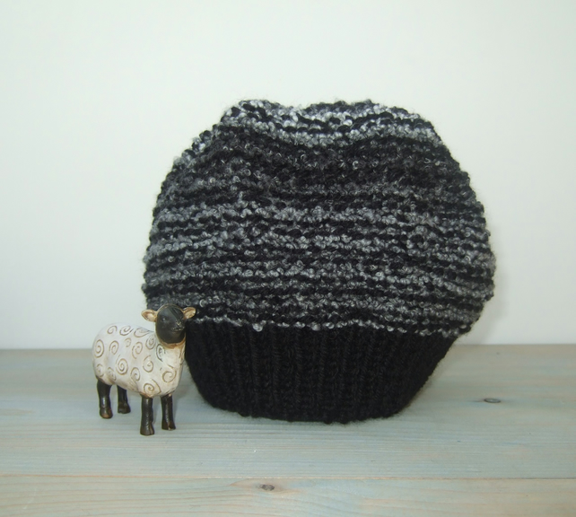 Black Grey Beanie Hat
