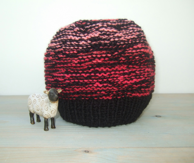 Beanie Hat, Colourful Large Knitted Hat