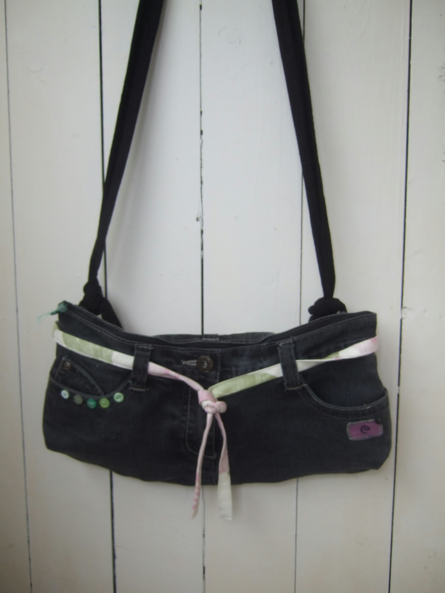 SALE Upcycled Jeans Bag - Cross Body Bag