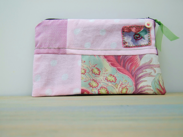 Patchwork Cosmetic Bag, Zipped Fabric Pouch