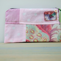 Patchwork Make Up Bag, Zipped Fabric Pouch