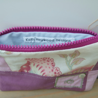 Patchwork Cosmetic Bag - Zipped Fabric Pouch