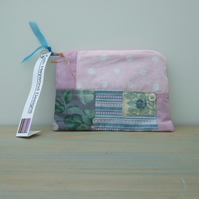 Pink and Turquoise Make Up Bag, Pouch, Purse, Eco-Friendly Gift
