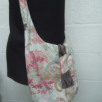Boho Bag in Flowery Fabric, Beach Bag