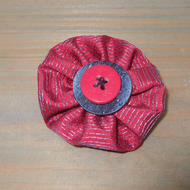 Button Brooch, Cerise Pink and Blue Textile Brooch