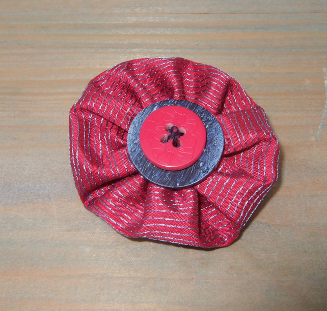 Button Brooch - Cerise Pink and Blue Textile Brooch