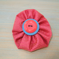 Button Brooch - Up-cycled Textile Brooch