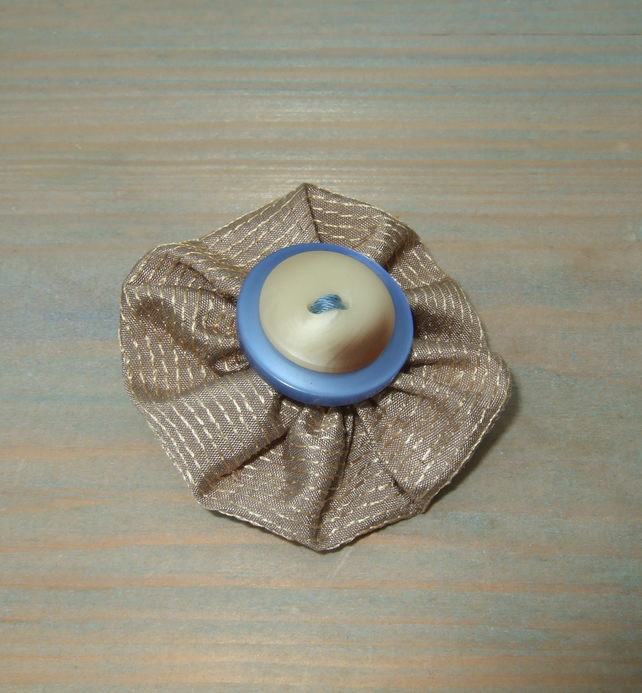 Brooch - Taupe Fabric Flower with Buttons - Eco-friendly Gift