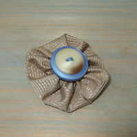 Brooch, Taupe Fabric Flower with Buttons, Eco-friendly Gift