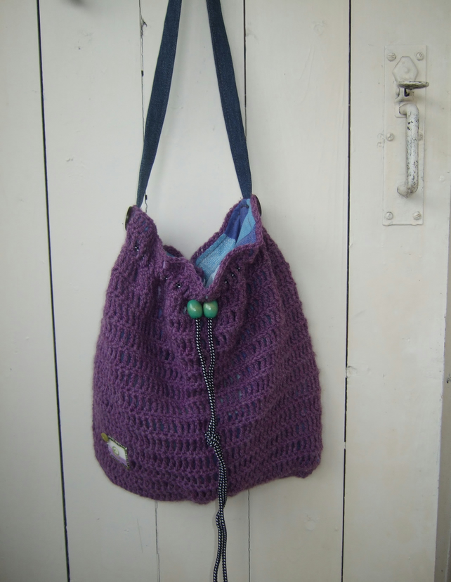 Cross Body Bag, Heather Crocheted Drawstring Bag