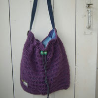Cross Body Bag - Large Crocheted Bag - Festival Bag - Craft Bag