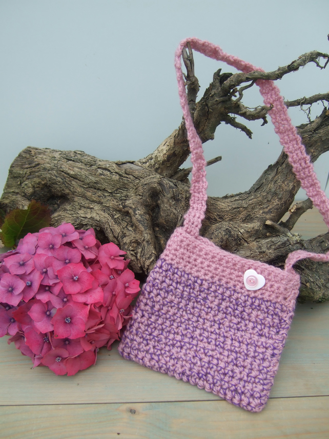 Girl's Crocheted Bag - Pink and Purple - Small Bag