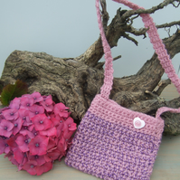 Girl's Pink and Purple Crocheted Bag