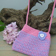 Pink and  Lilac Girl's Crocheted Bag