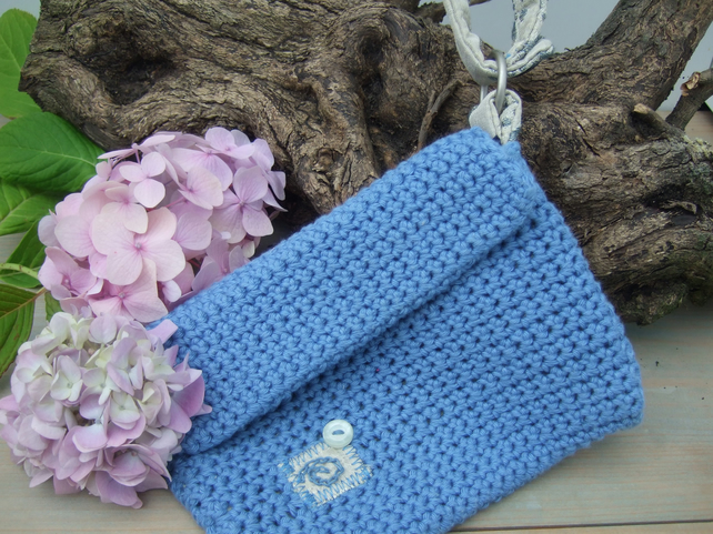Blue Crocheted Clutch Bag with Zip Fastening and Wrist Strap