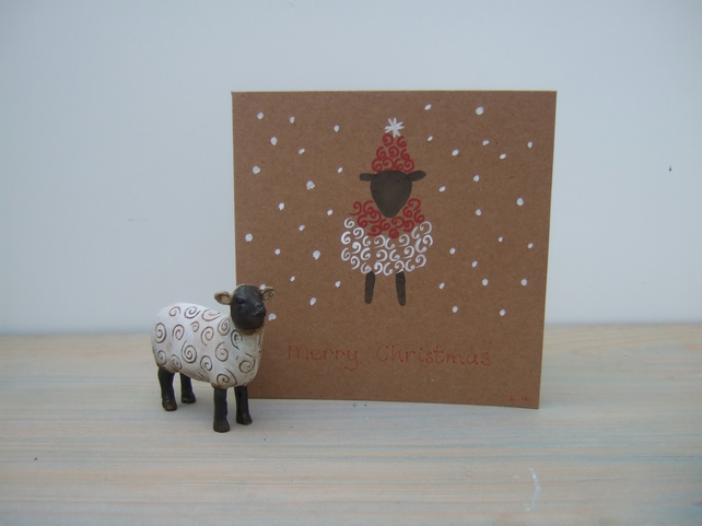 Christmas Card, Hand Painted, Sheep