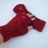 Red Cable Knit Fingerless Gloves