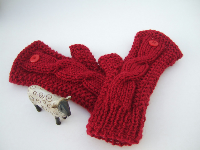 Red Aran Cable Knit Fingerless Gloves