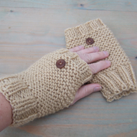 Hand Knit Fingerless Gloves Camel