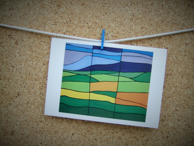 Abstract Art Card, Pendle from Clitheroe, Lancashire