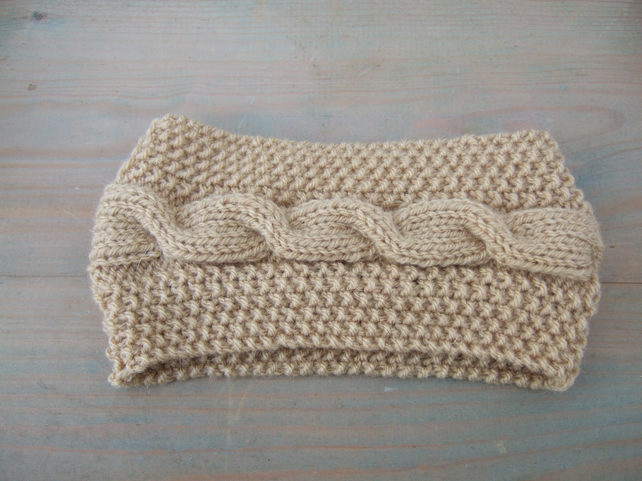 Knitted Headband in Camel Aran