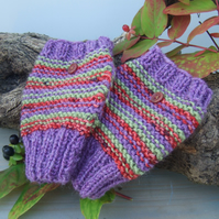 Fingerless Gloves, Heather, Russet and Fern Green Stripes