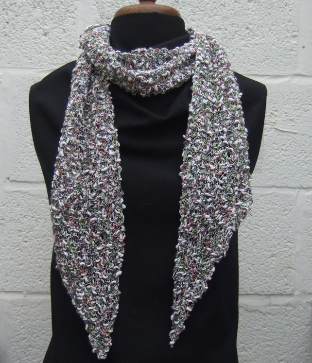 Hand Knit Scarf, Textured Cotton Yarn