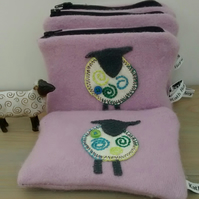 Pink Coin Purse, Sheep, Up-cycled Gift