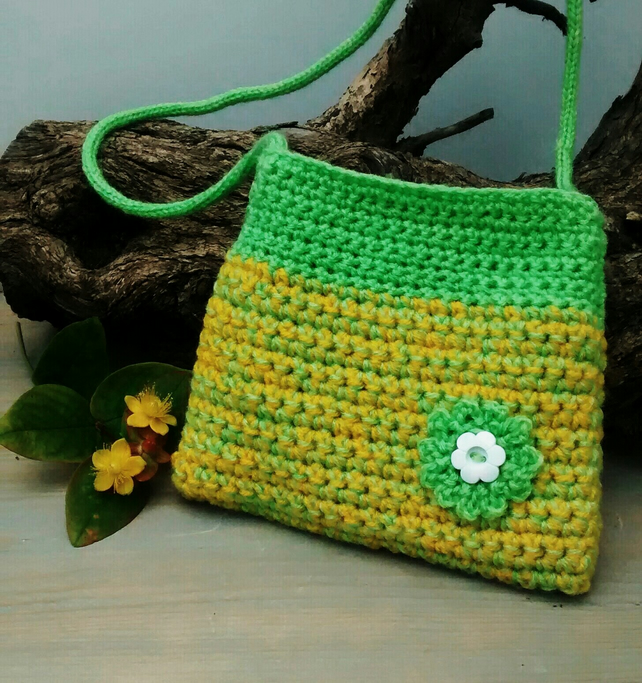 Girls Crochet Bag, Yellow and Lime Green