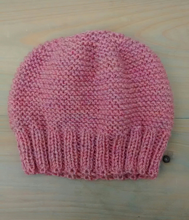 Beanie Hat in Rose Pink Aran - Free UK P&P