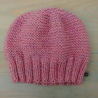Beanie Hat in Rose Pink Aran