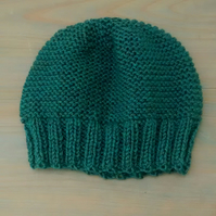 Beanie Hat in Spruce Green, Hand Knit Hat, Adult