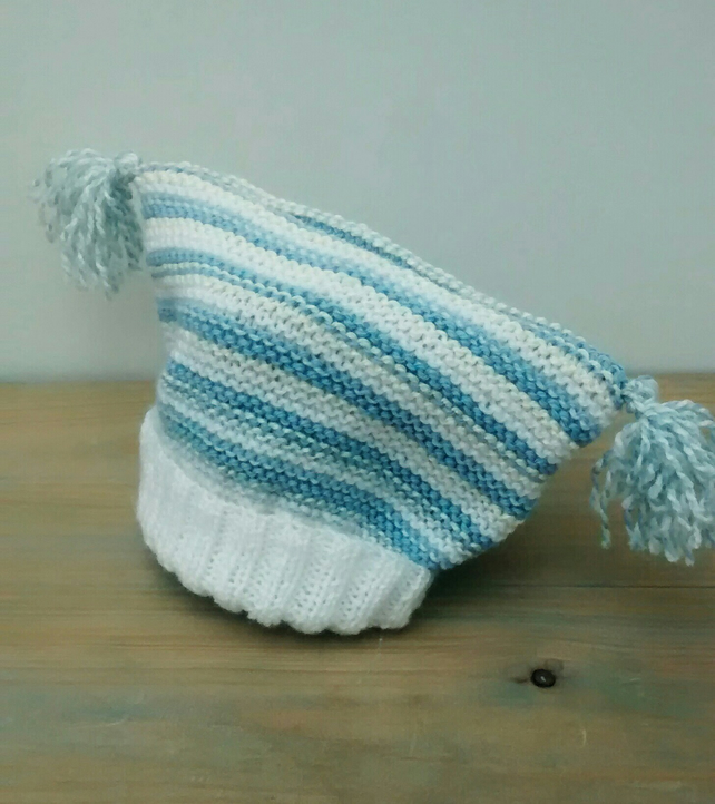 Baby Hat in Blue and White Stripes - 1 year