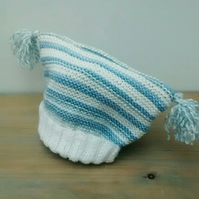 Baby hat in blue and white stripes 1 year