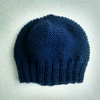 Beanie Hat in Blue Tweed Aran