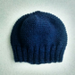 Hand Knit Beanie Hat in Blue