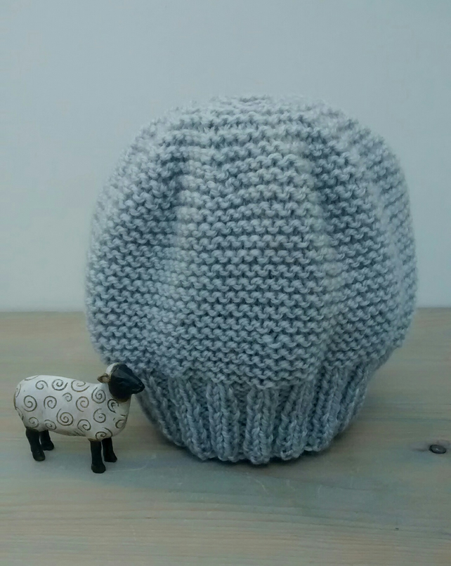 Grey Beanie in Silver Birch Aran