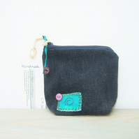 Denim Coin Purse with Zip Fastening