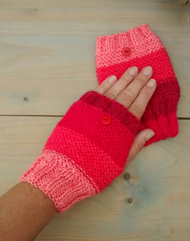 Fingerless Gloves, Pink and Red
