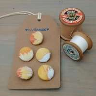 Silk Painted Buttons - Golden Yellow