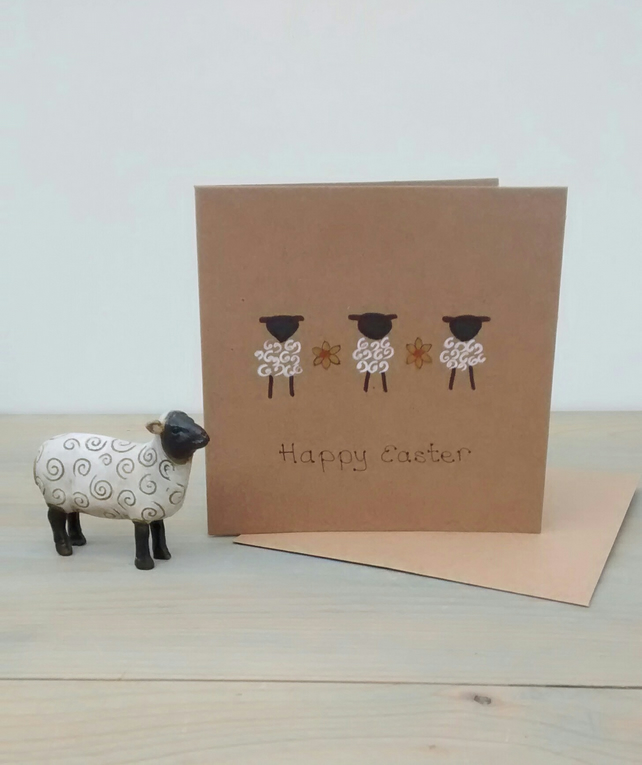 Easter Card, Lambs and Daffodils