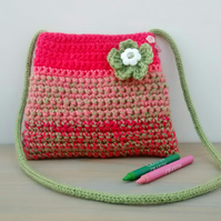 Coral Pink and Lime Green Handmade Bag for Girls