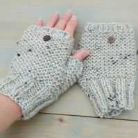 Hand Knit Oatmeal Tweed Fingerless Gloves