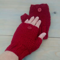 Fingerless Gloves in Garnet Red Aran