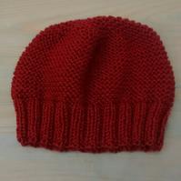 Russet Beanie Hat, Hand Knit Woolly Hat